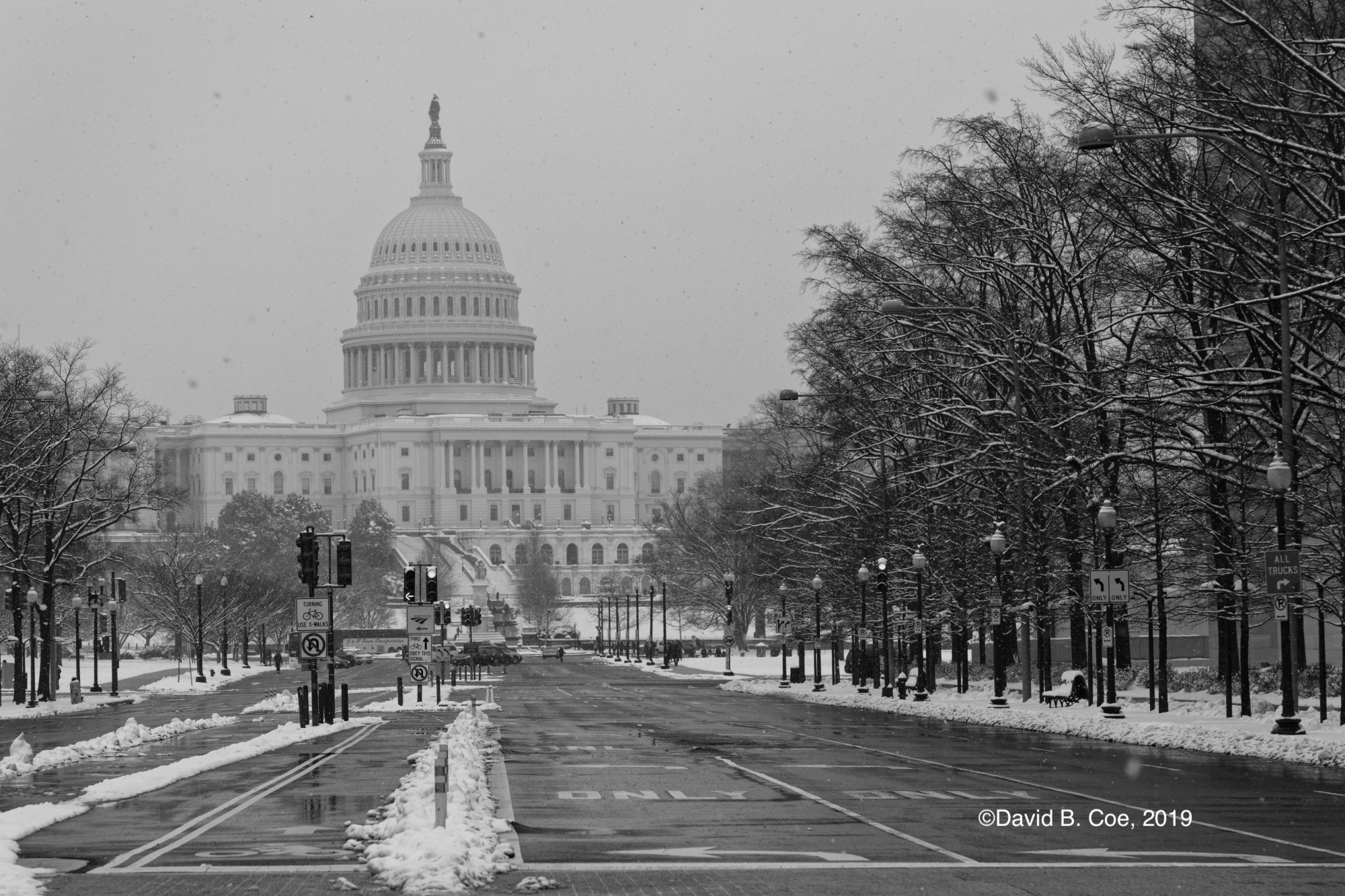 U.S. Capitol in Snow, by David B. Coe